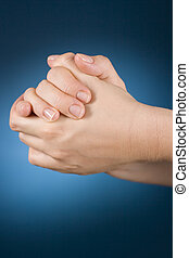 rub woman's hands