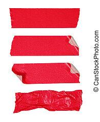 ruban adhésif, isolé, rouges