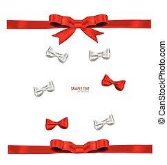ruban, arrière-plan., rouges, brillant, blanc