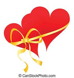 ruban, attaché, cœurs, deux, rouges