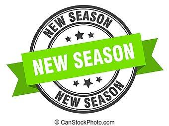 ruban, band., rond, nouveau, saison, étiquette, signe., stamp.