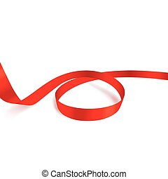 ruban blanc, brillant, fond, rouges