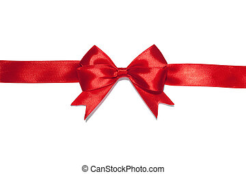 ruban blanc, fond, arc rouge
