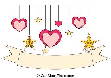 ruban, coloré, affiche, -, stars., cœurs