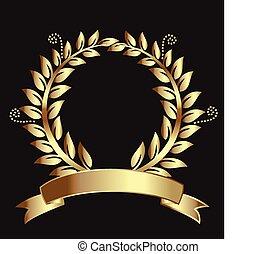 ruban, couronne, or, laurier, récompense