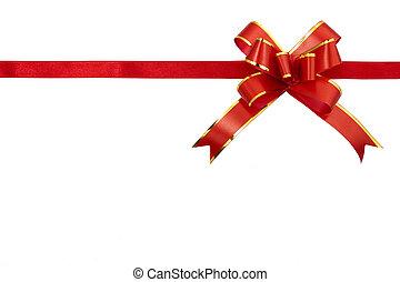 ruban, fond, isolé, cadeau, blanc rouge