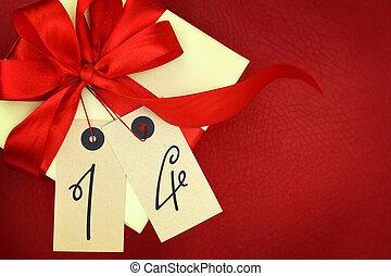 ruban, fond, nombre, 14, boîte-cadeau, rouges