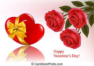 Ruban,  Illustration, fond, deux, petite amie, Trois,  roses, vecteur, cœurs, jour, rouges