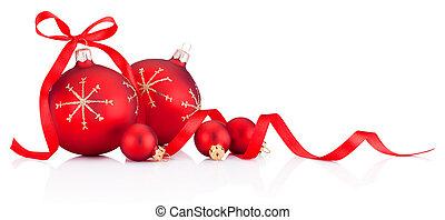 ruban, noël babioles, blanc rouge, fond, décoration, isolé, arc