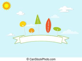 ruban, nuages, arbres, coloré