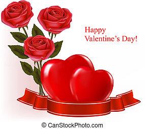Ruban,  roses, deux, petite amie, Trois, fond, vecteur,  Illustration, cœurs, jour, rouges
