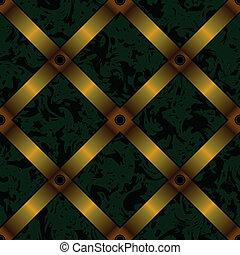 ruban, tapisserie ameublement, fond, seamless, or