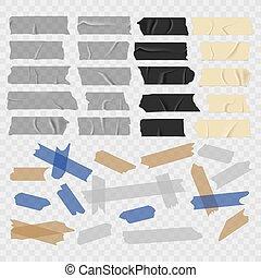 rubans adhésifs, vieux, conduit, grunge, collant, vecteur, noir, tape., ensemble, morceau, écossais, transparent