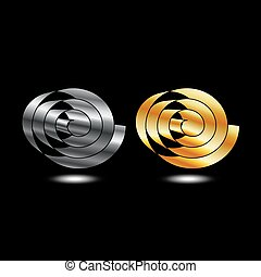 rubans, argent, or