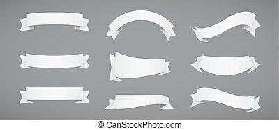 rubans, blanc, papier, ensemble