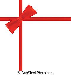 rubans, cadeau, rouges, arc