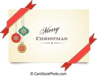 rubans, carte voeux, décorations, gabarit, noël, joyeux, rouges
