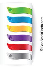 rubans, ensemble, étoile, coloré
