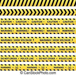 rubans, ensemble, avertissement, jaune