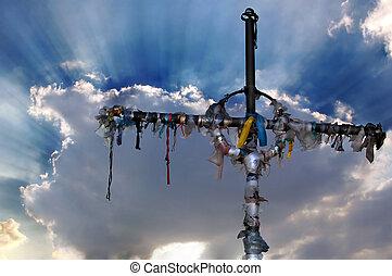 rubans, nuages, croix, contre