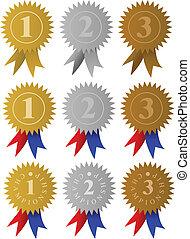rubans, récompense, médailles, /