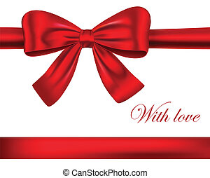 rubans, rouges, cadeau, arc