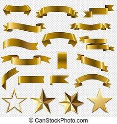 rubans, transparent, doré, ensemble, fond, étoiles