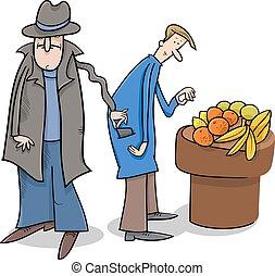 rubare, ladro, cartone animato, portafoglio