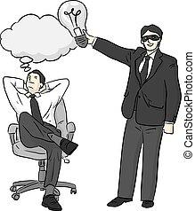 rubare, schizzo, illustrazione, disegnato, uomo, bianco, idea, fondo, nero, isolato, vettore, scarabocchiare, linee, uomo affari, un altro, mano