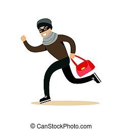 rubato, colorito, carattere, ladro, illustrazione, correndo, vettore, bag., cartone animato, rosso