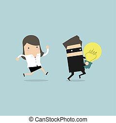 rubato, inseguire, donna d'affari, ladro, idea, correndo, hands.