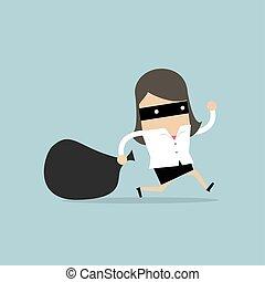 rubato, scassinatore, donna d'affari, maschera, bag., flees
