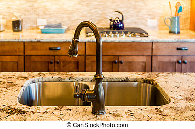 Rubbed Bronze Kitchen Sink and Fixture - Well decorated and...