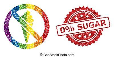 Rubber 0% Sugar Stamp and Bright Colored Forbidden Ice Cream Mosaic