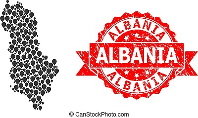 Rubber Albania Seal and Mark Mosaic Map of Albania - Pointer...
