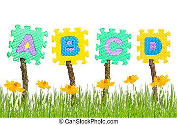 Rubber alphabet A,B,C,D