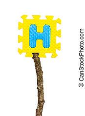 Rubber alphabet H