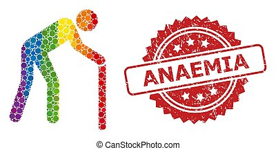 Rubber Anaemia Stamp and Rainbow Retired Person Mosaic