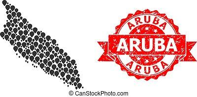 Rubber Aruba Seal and Marker Mosaic Map of Aruba Island - ...