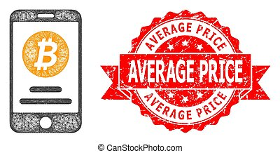 Net mobile bitcoin account icon, and Average Price corroded ribbon seal print. Red stamp seal has Average Price title inside ribbon.