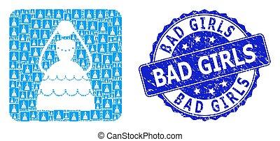 Rubber Bad Girls Round Stamp and Recursive Bride Icon Mosaic