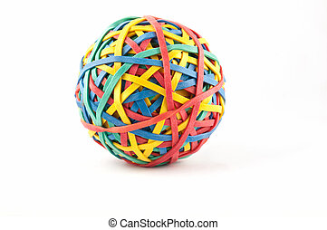 Ball fabricated out of of elastic bands isolated on a white background.