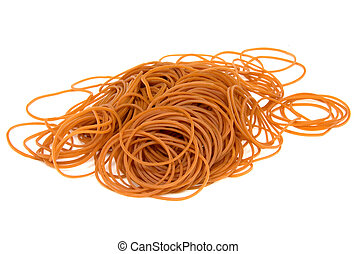 Deep yellow coloured rubber bands in isolation.