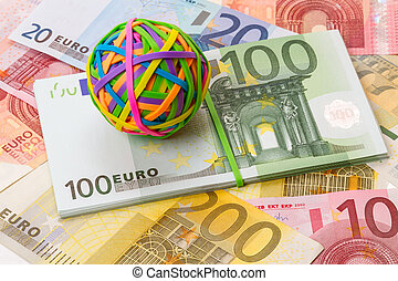 Rubber bands for money and euro