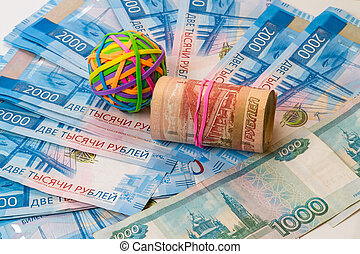 Rubber bands for money and Russian money