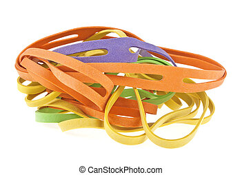 Rubber bands for money isolated on white background