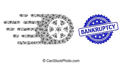 Rubber Bankruptcy Stamp and Recursive Tire Wheel Icon Collage