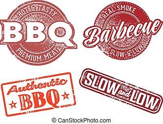 rubber, barbecue, ouderwetse , bbq, postzegel