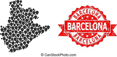 Rubber Barcelona Stamp Seal and Mark Mosaic Map of Barcelona Province