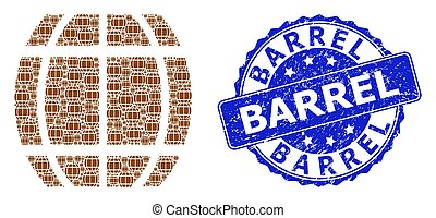 Rubber Barrel Round Seal Stamp and Recursion Barrel Icon Collage